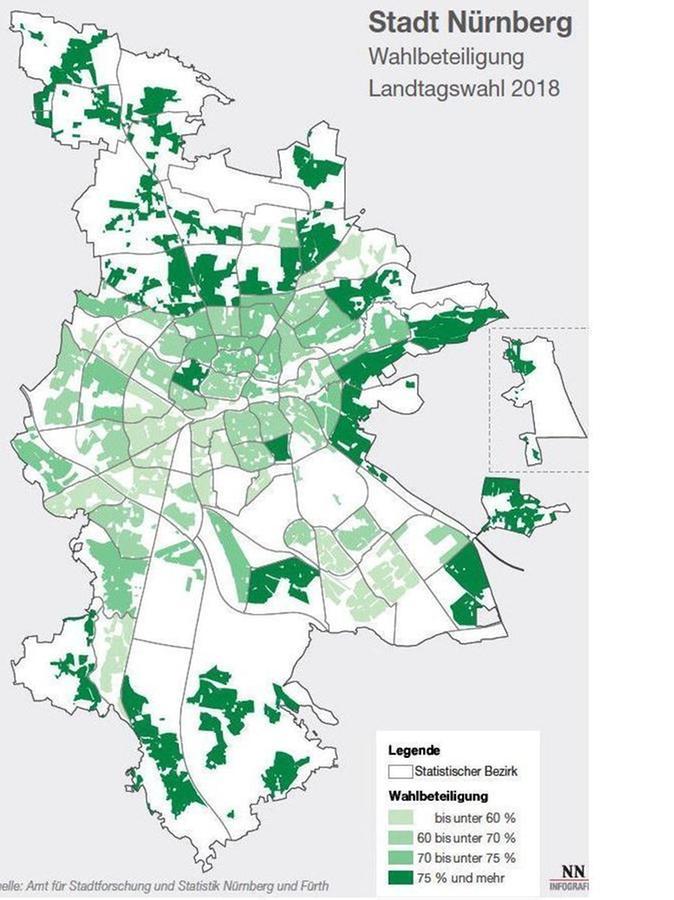 Die Wahlbeteiligung in den Stadtteilen Nürnbergs bei der Landtagswahl 2018.