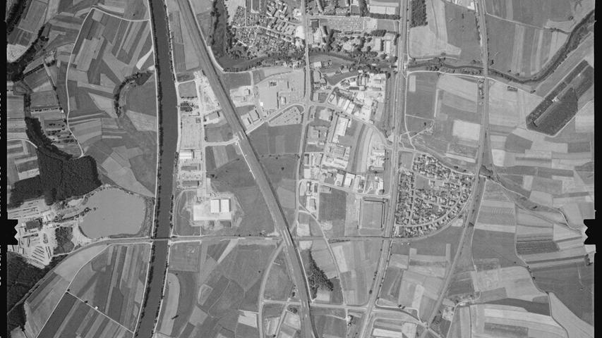 1980 gibt es nicht nur B470 und Kanal, sondern auch A73 und, entlang der Autobahn, zahlreiche, sich immer weiter ausbreitende Logistik- und Gewerbebetriebe.