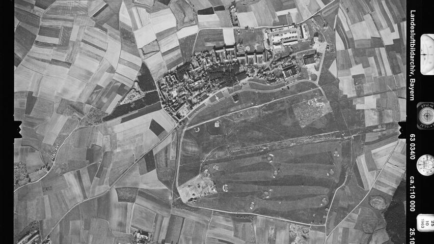 Von 1945 bis 1992 waren amerikanische Truppen in der Herzogenauracher Herzo Base stationiert, so auch zum Zeitpunkt dieser Aufnahme 1963. Deutlich sind die Kasernengebäude zu erkennen.