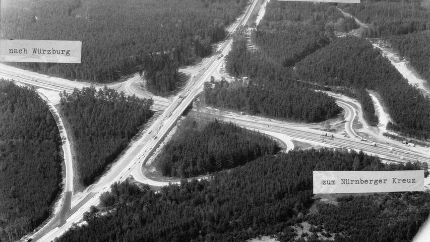 Eine Luftaufnahme der Ausfahrt Nürnberg-Nord aus dem Jahre 1979.