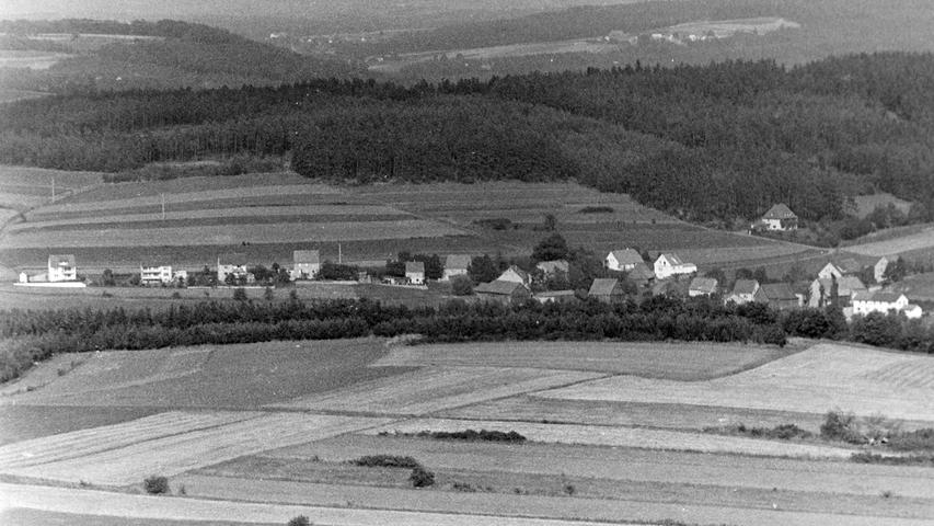 Wie sehr sich die Stadt Pegnitz in den vergangenen 50 Jahren verändert hat, beweist dieser Blick vom Aussichtsturm am Schloßberg aus dem Jahr 1968. Die Entwicklung des Ortsteils Rosenhof zeigt, dass sich gerade auch die Ortsteile einer wachsenden Beliebtheit als Wohnquartiere erfreuen. Standen damals nur wenige Häuser entlang der einstigen Kreisstraße, so ist heute der ganze Hang bebaut. Im Hintergrund am Waldrand übrigens die Villa des früheren Bergwerk-Chefs Bettermann.