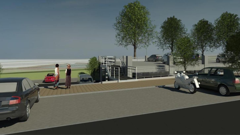 """An der Sandstraße soll ein Parkdeck am neuen Ganzjahresbad gebaut werden. Dafür hat der Neumarkter Stadtrat nun grünes Licht gegeben. Über 100 Stellplätze sollen dort entstehen, hier ein animiertes Bild der """"anwohnerfreundlichen"""" Planung."""