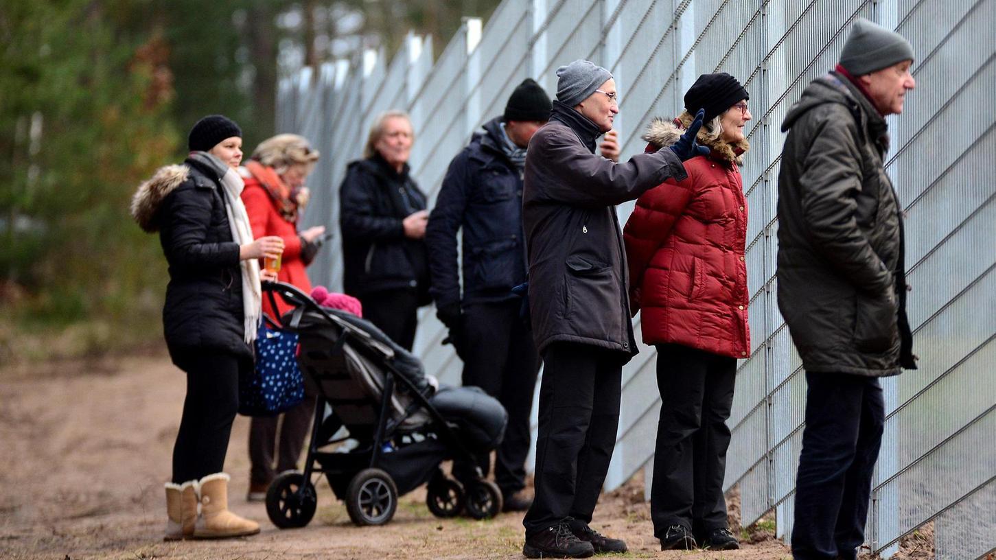Vier Wochen nach dem Einzug eines Rotwildrudels in das Gehege im Fürther Stadtwald bekommen Besucher beim Blick durch den Zaun auch immer öfter etwas zu sehen.