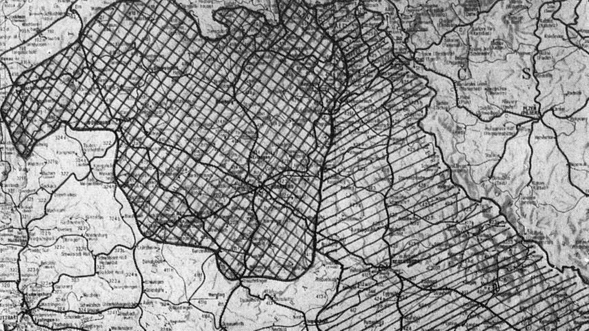 Die Karte beweist: das Schwergewicht liegt im Bezirk Nürnberg. Hier geht es zum Kalenderblatt vom 9. Januar 1969: Schon Krach um die DB-Direktion