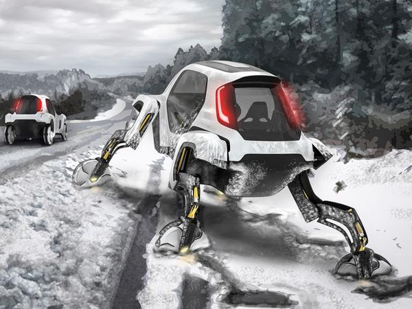 Ein Auto? Eher ein Robo-Tier: Der Elevate Walking Car von Hyundai ist für unzugängliches Gelände gedacht.
