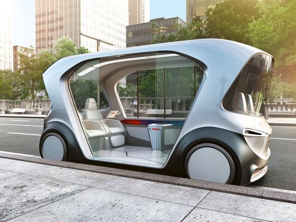 Entspannt durch die City: So sieht der autonome Minibus von Bosch aus.