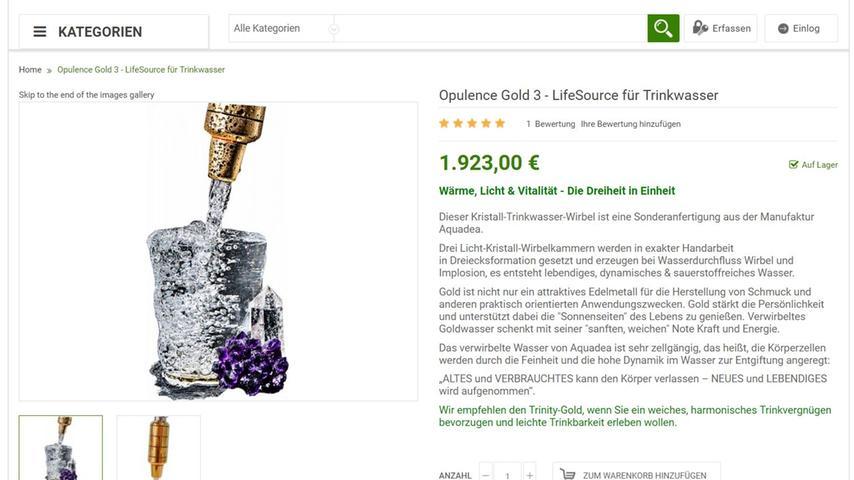 Sie trinken gerne Leitungswasser, werden aber das Gefühl nicht los, dass es irgendwie leblos ist und Ihnen wie ein Stein im Magen liegt? Klarer Fall, Sie brauchen einen Trinkwasser-Wirbler. Und da es nur das Beste vom Besten sein darf, geht nichts über den Opulence Gold 3. Nicht gerade ein Schnäppchen mit seinen fast 2000 Euro, aber der Wirbler ist jeden Cent wert: