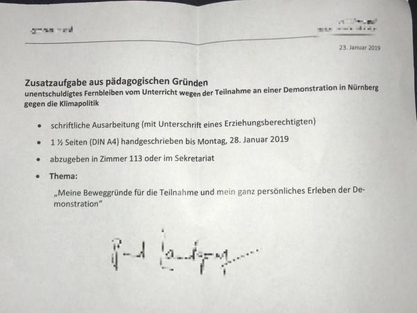 Eine Nürnberger Schule reagiert mit dieser