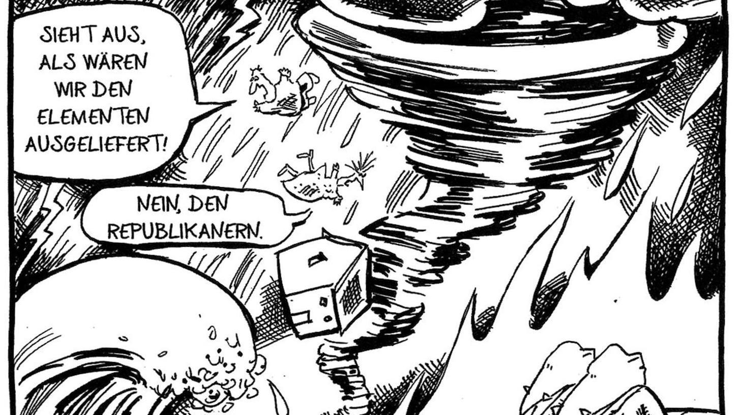 """Apokalypse aus Sicht eines US-amerikanischen Karikaturisten: Illustration von Tom Toles aus dem Buch """"Der Tollhaus-Effekt""""."""