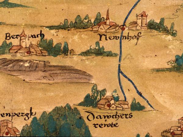 Die älteste Darstellung Beerbachs stammt aus der Zeit um 1552/55. Mit Überraschung sieht man im Dorf einen hohen Kirchturm, doch handelt es sich hierbei wohl um die künstlerische Freiheit des Zeichners, der nur andeuten wollte, dass Beerbach eine Kirche besitzt, auch wenn diese außerhalb des Ortes im Osten steht.