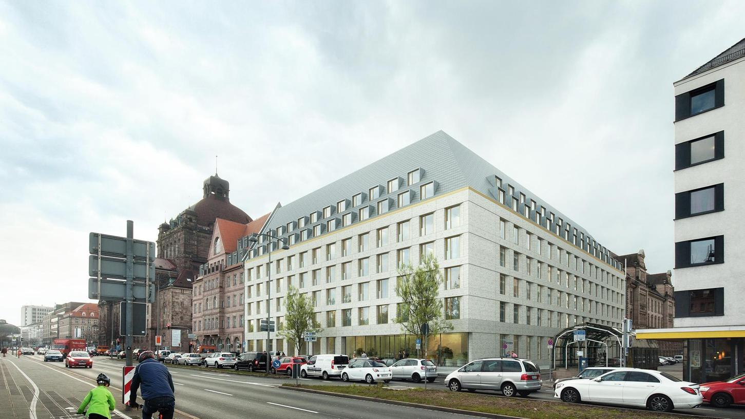 So soll das neue Hotel einmal aussehen. Es wird genauso hoch sein wie das ehemalige Arbeitsamt, hat hat aber eine Etage mehr, weil die Räume niedriger sind.