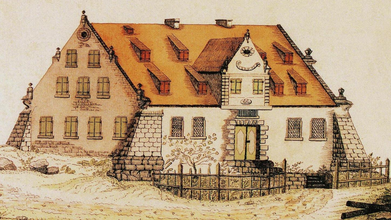 Das ehemalige Schloss in Wolfsfelden, nach einer Zeichnung von Ortspfarrer Gottlob Rehlen im Jahre 1843.
