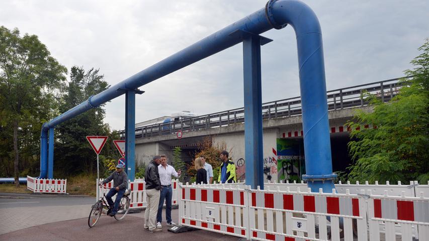Die Arbeiten für die Sanierung des Hauptsammlers für die Erlanger Abwässer, der unter der A73 liegt, hat begonnen.