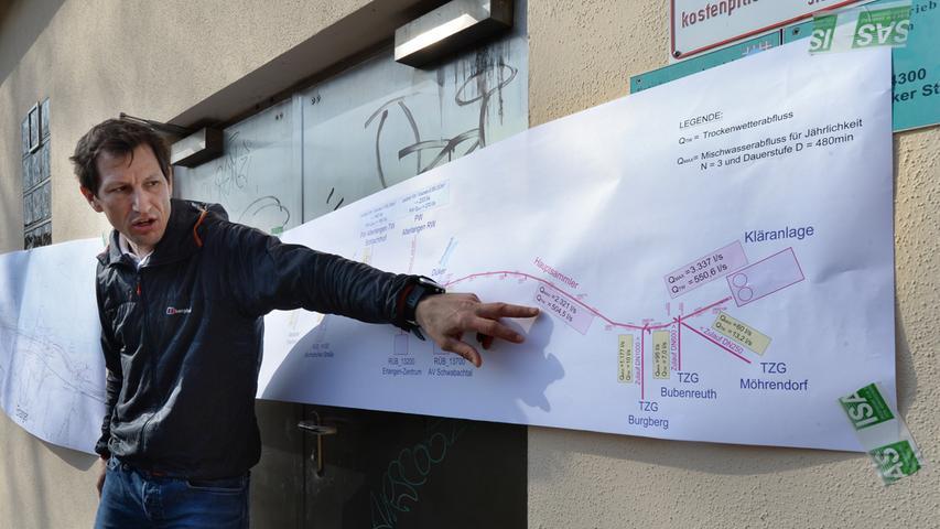 Den Besuchern von der DWA wurde auch die Pumpstation erläutert, die die Abwässer über einen Bypass zum Klärwerk bringen. Hier erläutert Sebastian Brunner die Technik.