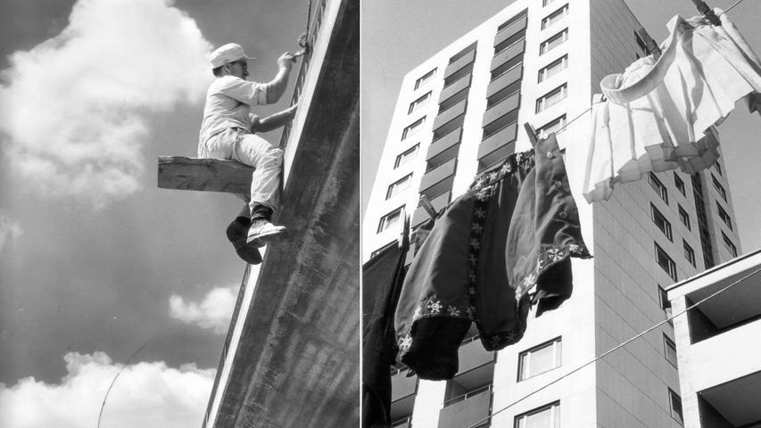 """Nachdem die kleine Gertrud 1917 eine alte Kamera auf dem heimischen Dachboden gefunden hatte, erlaubte Ihre Mutter, die Malerin Anna Gerardi, die Einrichtung einer Dunkelkammer. Nur der Vater blieb skeptisch, als sie ihren Traum weiterverfolgte und sich 1933 bis 1935 an der """"Bayerischen Staatsanstalt für Lichtbildwesen"""" zur Fotografin ausbilden ließ. Den eigenen Weg konsequent weiterzugehen, hatte sich aber gelohnt, wie die beiden extremen Untersichten zeigen. Links 1957 ein Brückenbauer über die Rednitz bei Katzwang. Rechts 1966 eine Wäscheleine in der Hochhaussiedlung Neuselsbrunn."""