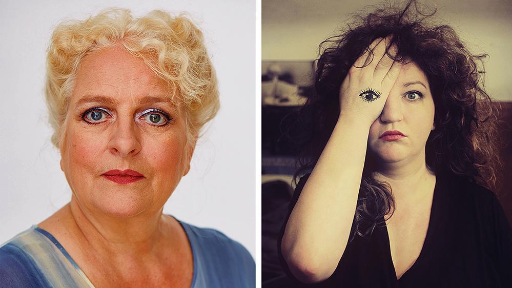 Zwei starke Frauen, die im Juli dieses Jahres beim Lebkuchenmann-Stück im Weißenburger Bergwaldtheater als Erlkönigin auf der Bühne stehen werden: Anna Mateur (re.), mehrfach preisgekrönte Kabarettistin und Sängerin, und die oberfränkische  Kabarettistin Claudia Bill.