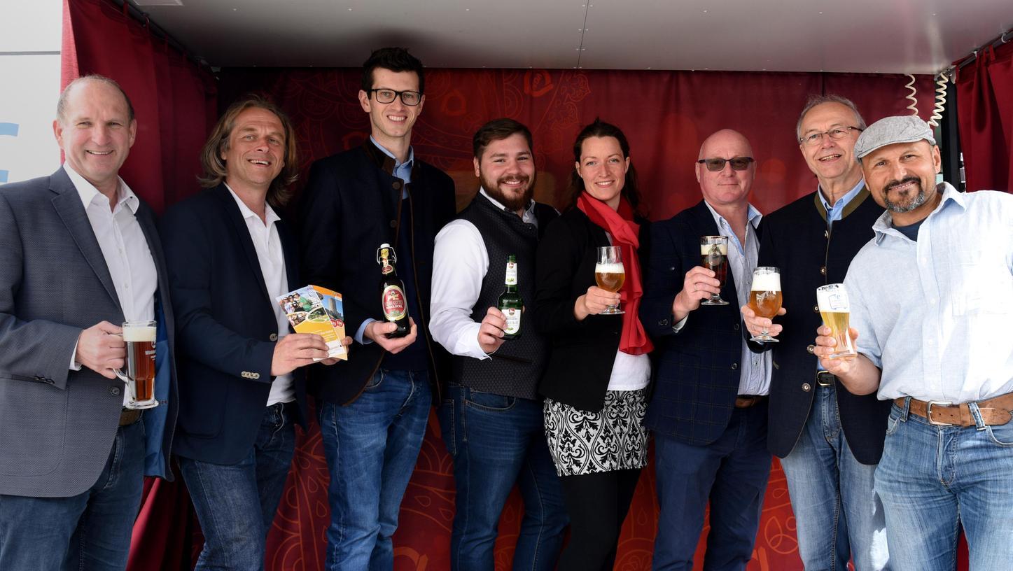 Vertreter der fünf Brauereien im Regionalpark Quellenreich mit Maria Rammelmeier von der Geschäftsstelle des Regionalparks.