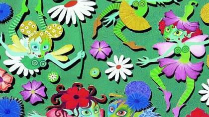 Die Collage «Blütenzauber», eine farbenfrohe Szene aus gesägtem Karton und Gouache-Farben in 3D-Optik von Anke Hellmich, ist eines von vielen hundert Exponaten, die von Künstlern und Kunsthandwerkern an den 6. Gostenhofer Atelier- und Werkstatttagen gezeigt werden.