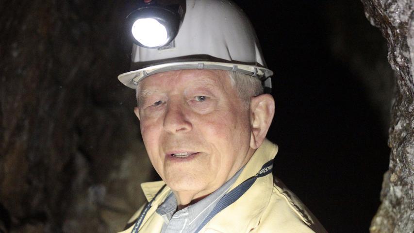 Motiv: Heinz Zahn, Leiter Fachgruppe Bergbau, Goldbergbaumuseum Goldkronach, im Besucherbergwerk Mittlerer Name Gottes.Foto: Martin Müller, 24.04.2019