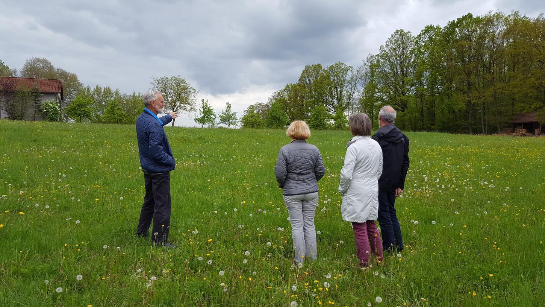 Bernd und Helga Bühnemann, Rotraud Krüger und Gerd Ahlf (von links nach rechts) deuten auf den nahen Horizont. Hier könnte künftig ein Mobilfunkmasten gebaut werden, der die umliegenden Hügel und Bäume weithin überragt.