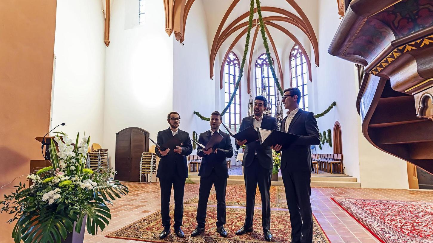 Sie sangen früher im Dresdner Kreuzchor: Bastian Bartsch (Bariton), Gustav Augart (Bass), Moritz Bamberg (Tenor) und der Countertenor Jan Lang (von links).