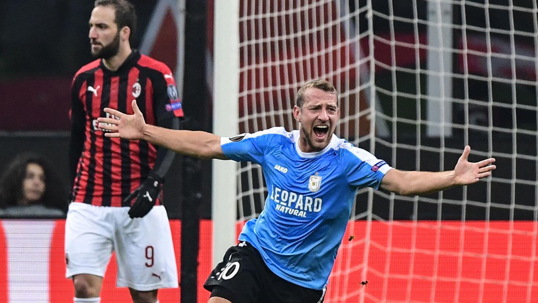 Ein Moment für die Ewigkeit: Dominik Stolz jubelt über seinen Treffer im San Siro.