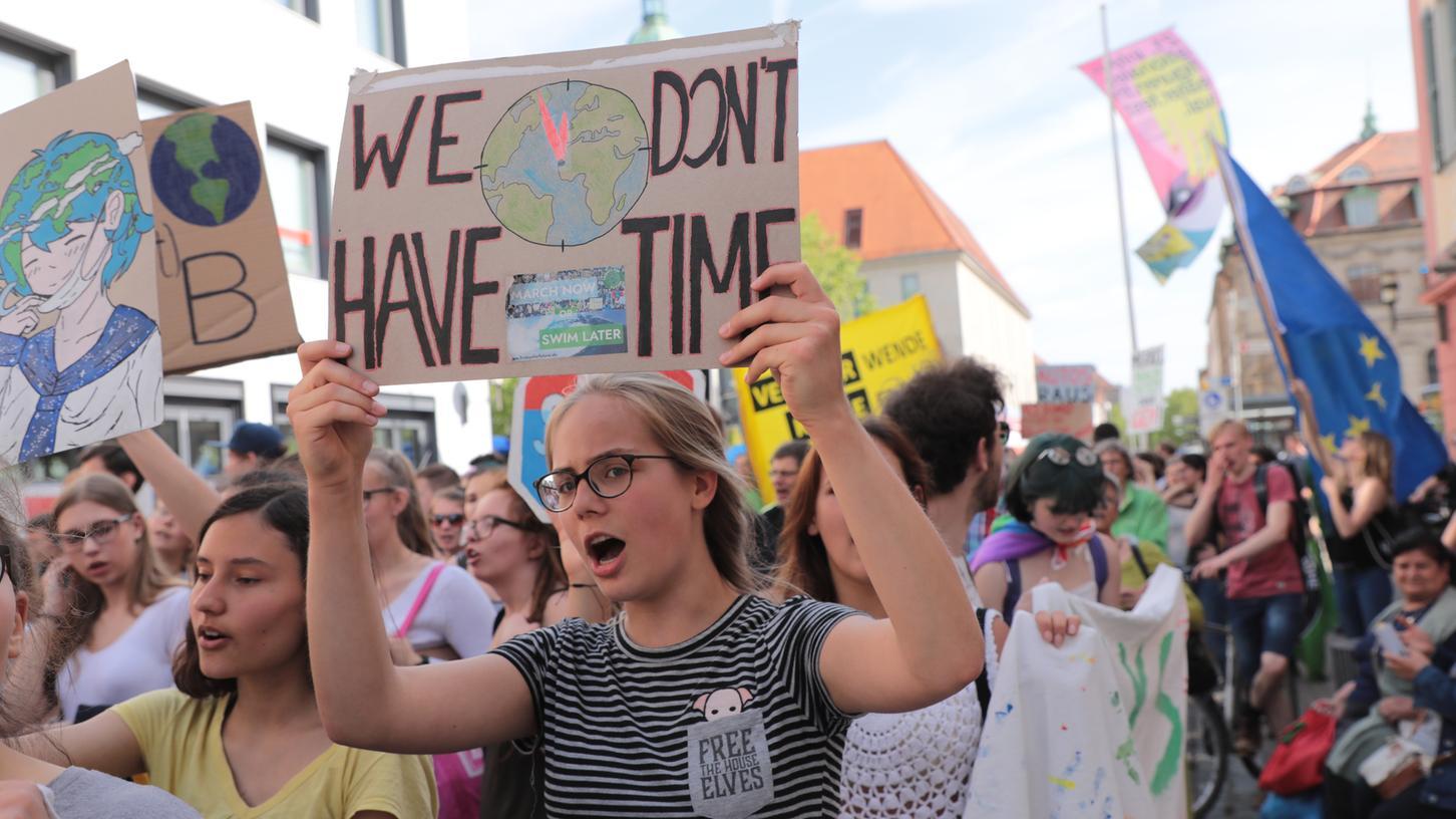 Szene von einer Fridays for Future-Demo in Erlangen.
