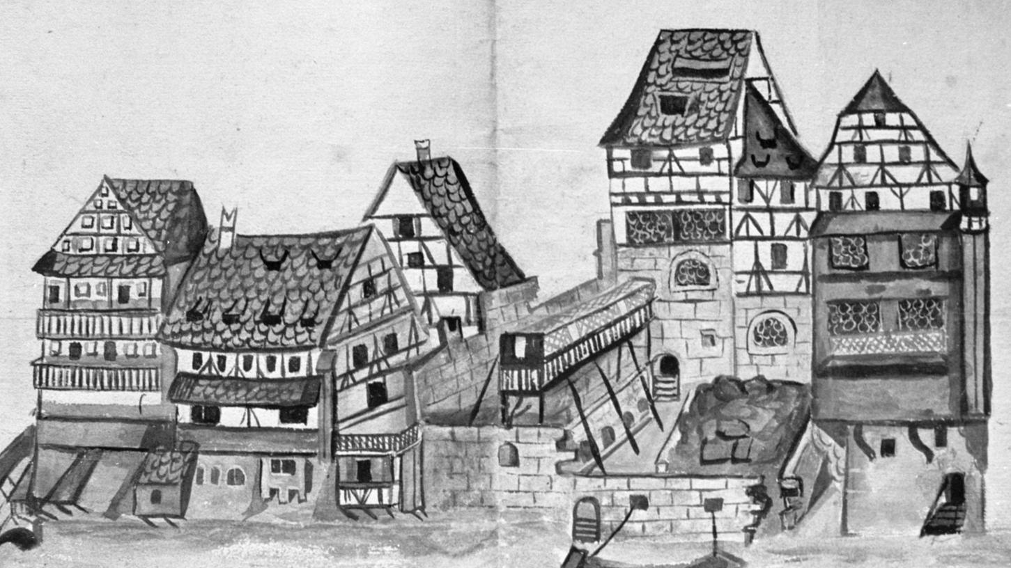 Charakteristisches im fränkischen Stadtbild zeigt dieses Blatt, das um 1600 zu einer Bau-Eingabe gehörte und die Pegnitzseite der Kaiserstraße darstellt: einfaches Fachwerk, Höfe und die Dachtraufe meist der Straßenseite zugewandt.