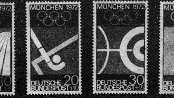 Das ist die Serie von Olympiamarken, die der Nürnberger Meisterschüler entwarf. Die Darstellungen zeichnen sich durch große Klarheit aus, die auch für die Entscheidung der Bundespost maßgeblich war.
