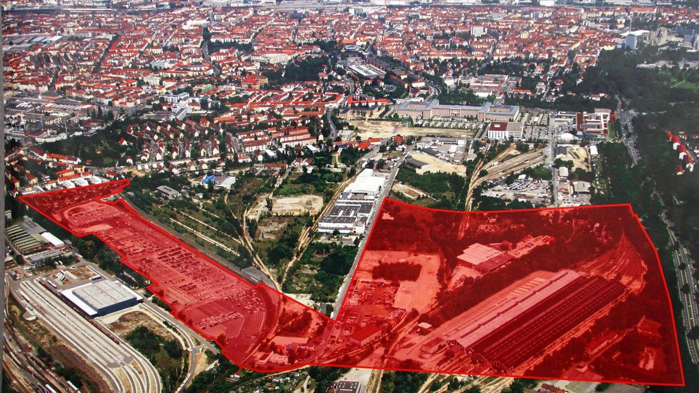 Die rot eingefärbte Fläche zeigt das 37 Hektar große Gelände auf dem die Technische Universität Nürnberg gebaut werden soll. Schon bald soll ein Interimsbau für die Gründungsphase entstehen.