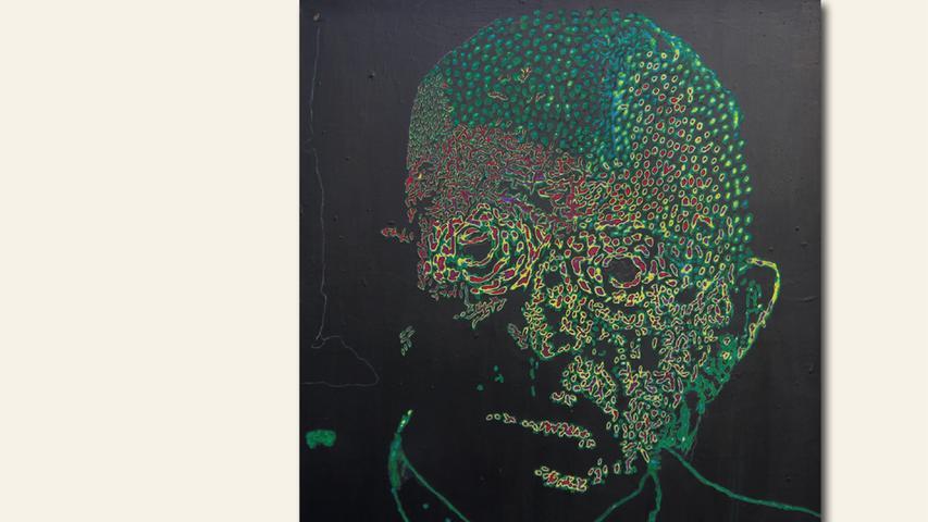 geb. 1953 in Nürnberg lebt in Nürnberg Opa (2018) 120 x 100 cm Acryl auf Leinwand geflext
