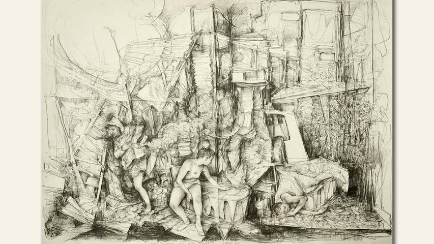 geb. 1981 in Halle/Saale lebt in Nürnberg Vom Erscheinen eines großen Geistes (2019) 68 x 88 cm Graphit/Bütten