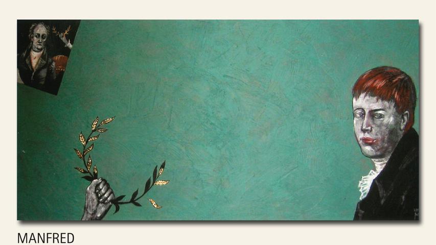geb. 1958 in Oberstaufen lebt in Nürnberg Kleist, im Schatten von Goethe (2019) 60 x 120 cm Acryl auf Leinwand