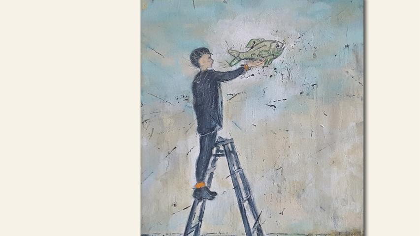 geb. 1956 in Gunzenhausen lebt in Weißenburg Fisch (2019) 24 x 30 cm Acryl auf Leinwand erstmals im Wettbewerb vertreten
