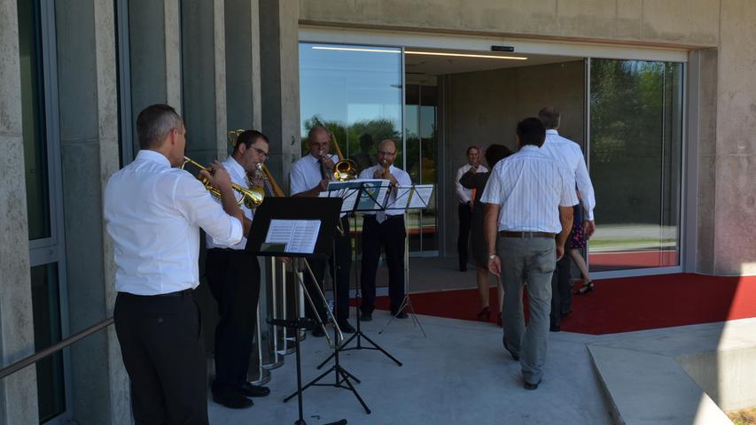 Das Bläserquartett empfing die Besucher bereits am Eingang musikalisch und gab später auch auf der Bühne im Saal sein bestes.