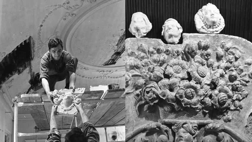Vorsichtig überreicht Manfred Kolier seinem Gehilfen einen Ausschnitt aus der Stuckdecke (I.). Die geborgenen Ornamente (im Bild ein Blumenbukett) sind zur Zeit in der Burgerstraße 42 ausgestellt, Kunstfreunde dürfen sie dort bewundern.  Hier geht es zum Artikel vom 4. Juli 1969:
