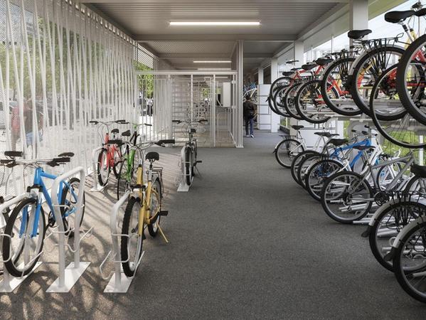 Aufgeräumt, hell und sicher: So soll das Fahrradparkhaus von innen aussehen. Betrieben wird es durch die VAG, die auch schon das VAG-Rad in Nürnberg anbietet.