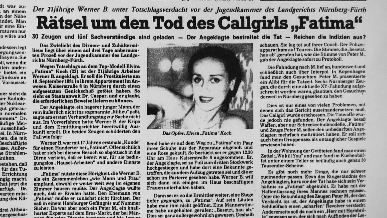 Der Fall elektrisierte die Stadtgesellschaft: Im September 1981 wird die Sexarbeiterin