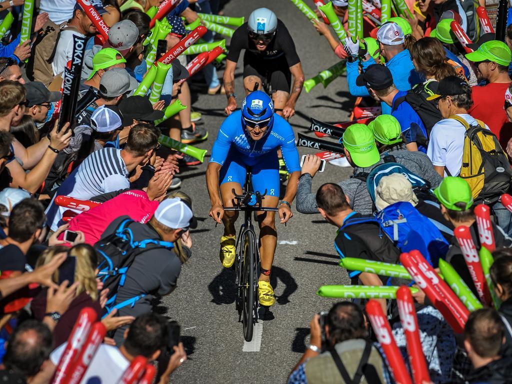 Datum: 01.07.2018; Foto: André De Geare, Motiv: Challenge Roth Triathlon 2018, Radstrecke, Fahrrad, Rad, Solarer Berg Hilpoltstein, Andreas Dreitz, Niclas Bock; Ressort: HA