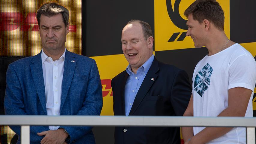 07.07.2019 --- Motorsport --- Rennwochenende Norisring Nürnberg 2019 --- Foto: Sport-/Pressefoto Wolfgang Zink / HMB --- ..v. l. Bayerns Ministerpräsident Markus Söder, Fürst Albert II. von Monaco und Thomas Dreßen