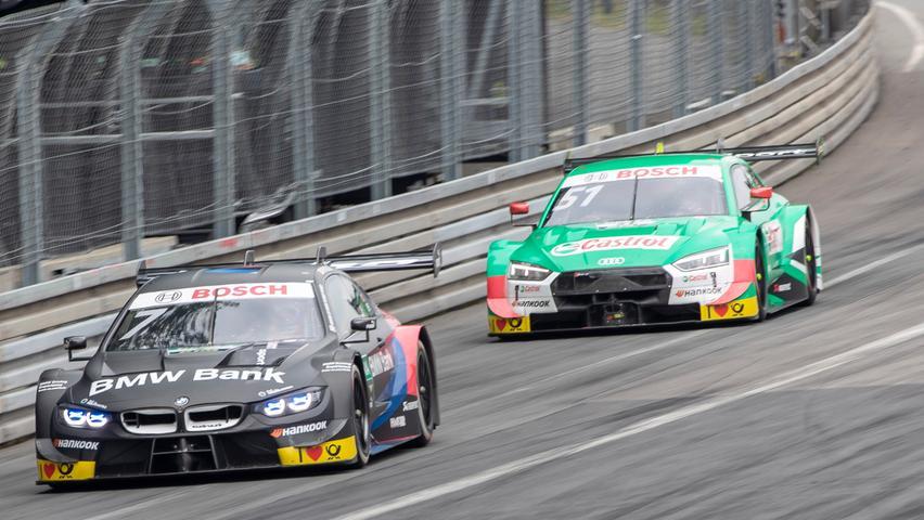 07.07.2019 --- Motorsport --- Rennwochenende Norisring Nürnberg 2019 --- Foto: Sport-/Pressefoto Wolfgang Zink / HMB --- ..Bruno Spengler (BMW Team RMG / BMW M4 DTM, #7) und Nico Müller (Audi Sport Team Abt Sportsline / Audi RS 5 DTM, #51)