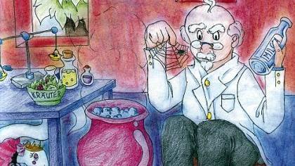 Eine Illustration aus dem deutsch-chinesisch-englischen Märchenbuch «Schlangenprinzessin Niesnichtmehr».