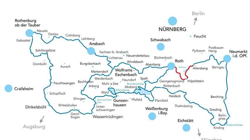 Insgesamt ist der WasserRadWeg 450 Kilometer lang– das Stück im Landkreis Roth ist zu empfehlen.