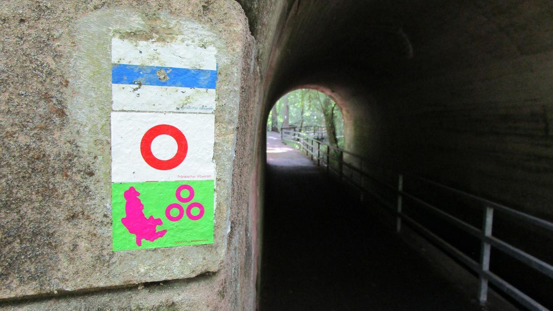 Ein bisschen verspielt und rätselhaft präsentiert sich das Bethang-Wegezeichen: Pinkfarben auf grünem Grund sind die Umrisse der drei Städte Nürnberg, Fürth und Erlangen zu sehen. Drei Ringe symbolisieren das Städtedreieck.