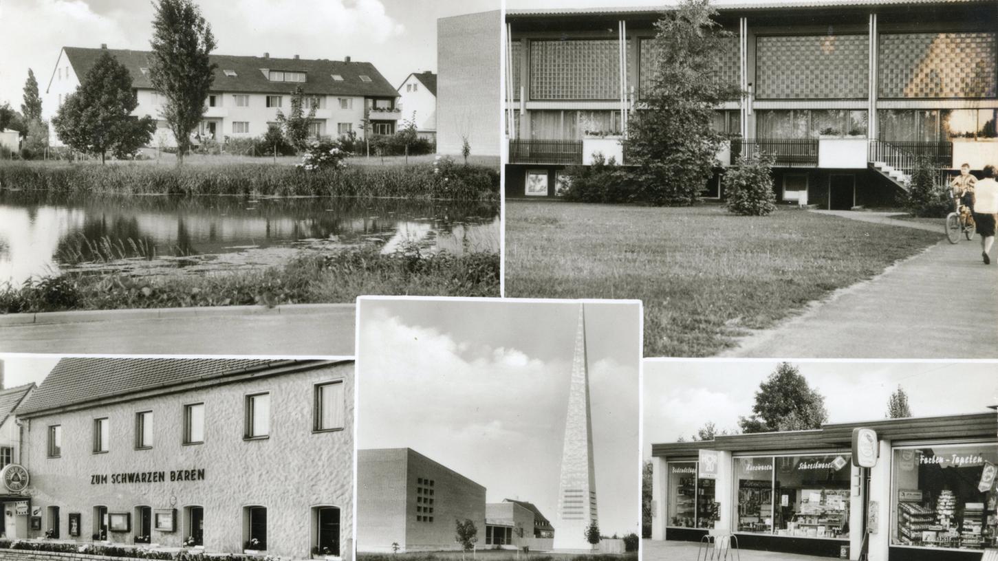 1969 waren die Reihenhäuser an der Kasackstraße, die Turnhalle, der Schwarze Bär, die Kirche und der Schreibwarenladen (von li. nach re.) noch ganz neu – oder zumindest erneuert.