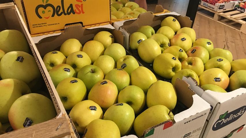 So finden sich die Äpfel dann im Laden wieder.