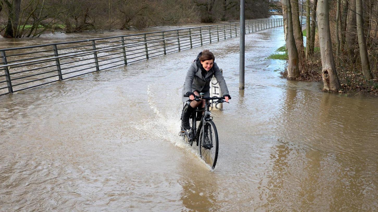 Zwar blieb Fürth bislang von Hochwasser verschont, doch nach starken Regenfällen im vergangenen Januar stieg der Pegel der Rednitz bei der Uferpromenade blitzartig an. Aufgrund des ausgedörrten Bodens floss das Wasser auf den Wiesen nur langsam ab.