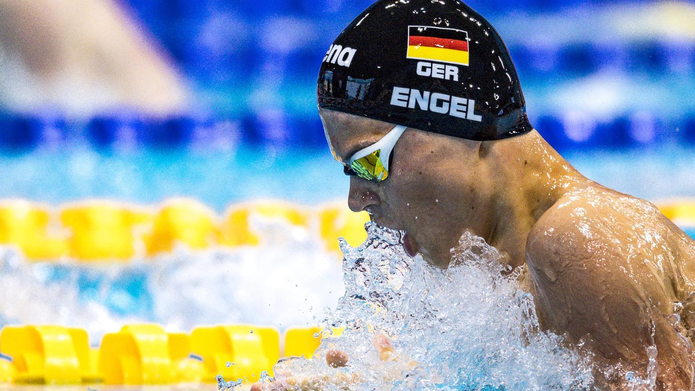 Taliso Engel in London auf dem Weg zu Gold. Beim Schwimmen fühlt er sich schwerelos, sagt er.