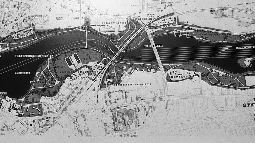 In den Planungen für den Wöhrder Seevon 1969 waren ursprünglich Areale für Liegewiesen, den Wassersport und für ein Freibad Pulversee vorgesehen. An der Ostseite des neuen Gewässers sollteeine eigene Insel für Wassersportvereine entstehen.