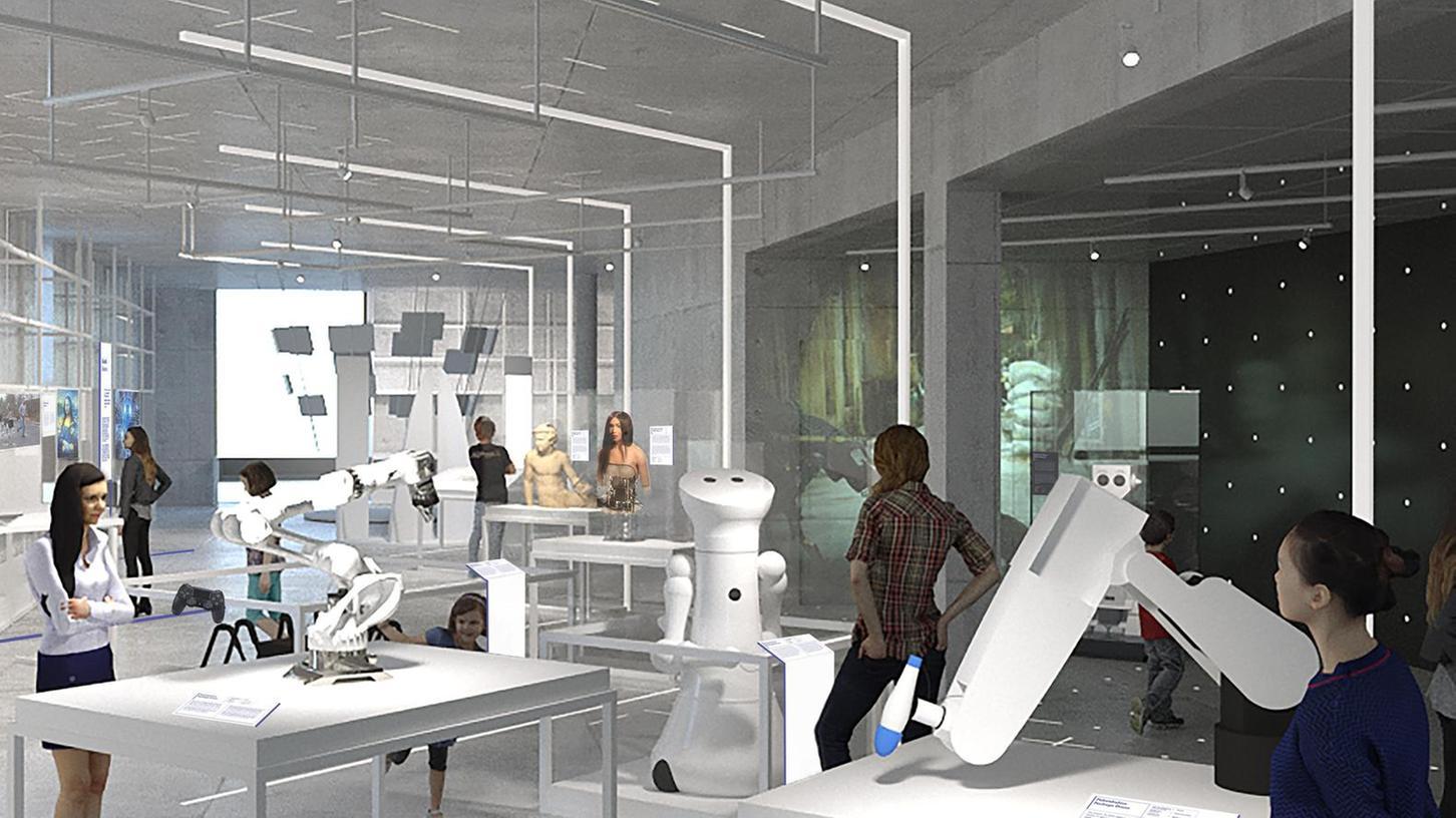 Die Zweigstelle des Deutschen Museums soll in gut einem Jahr auf dem Augustinerhof eröffnen. Die Simulation zeigt eine geplante Raumgestaltung zur Arbeitswelt.